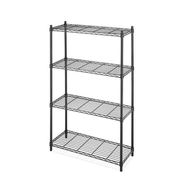 High Quality 4 Tiers Chrome Metal Wire Bathroom Washing Machine Storage Rack Shelf with Basket